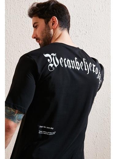 Buratti Buratti Oversize Yazı Baskılı Bisiklet Yaka % 100 Pamuk T Shirt Erkek T Shirt 5721022 Siyah